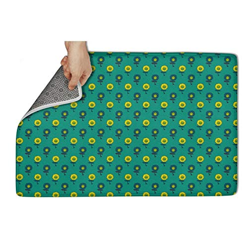 """Mackiintion Large Indoor Outdoor RugColorful Sunflower Green Non Slip Low Profile Door Mat,Entry Way Rug for High Traffic Areas (31""""x19"""")"""