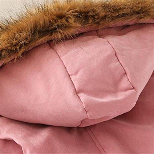 Lunghe 1 Pelliccia Caldo Inverno Coulisse Lungo Donna Cappotto Fashion Cappuccio Parka Pink Ecologica Con Giacca di Reasoncool Cappotto Maniche Calda w6Wq4WZzH