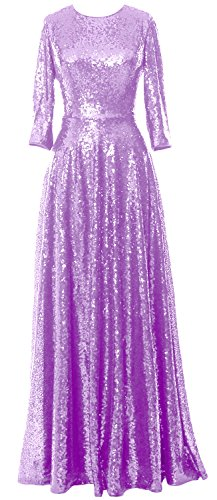 4 Sleeve 3 MACloth Lavendel Bride Elegant the Mother Gown Sequin Dress of Evening Vintage 5qtqErwx