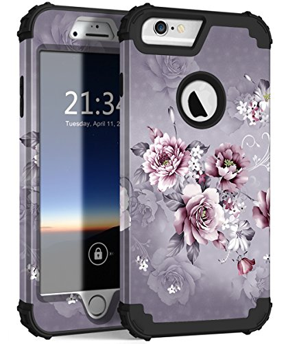 iPhone 6s Plus Case, iPhone 6 Plus Case, Hocase Heavy Duty Shockproof Protection Hard Plastic+Silicone Rubber Protective Case for iPhone 6 Plus/6s Plus 5.5-Inch - Light Purple Flowers