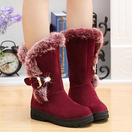 Boots Freshzone Women Flat Fur Middle Winter Boots Wine Snow Girls Toe Boots Round qqxwTg