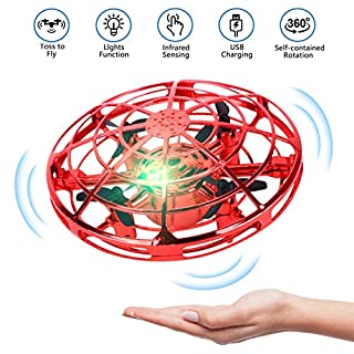 UFO Drone-Hand Operated Drones,Flying Ball Drones for Kids and Adults, Indoor Flying Toys with 360 Rotating and Shinning LED Lights Helicopter Toy for Boys or Girls (Red)
