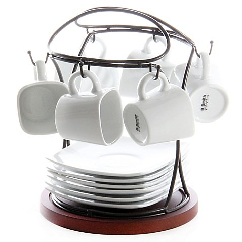 B. Smith White Durable Porcelain 13 Piece Carry-all Stand Espresso Set