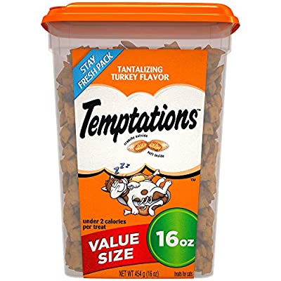 Cat Food TEMPTATIONS Classic Crunchy and Soft Cat Treats Tantalizing Turkey Flavor, 16 oz. Tub [tag]