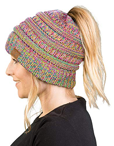 BT-6800-816.41 Messy Bun Womens Winter Knit Hat Beanie Tail - Rainbow -