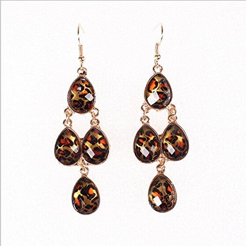 Chandelier Laurel Gold Crystal (HeyGirl Black Friday Women Lady Personality Leopard Drop Earrings)