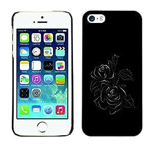 Be Good Phone Accessory // Dura Cáscara cubierta Protectora Caso Carcasa Funda de Protección para Apple Iphone 5 / 5S // Black Minimalist Rose Floral