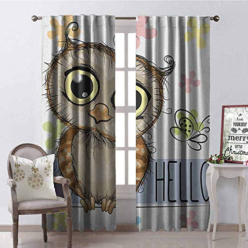 - GloriaJohnson Owls Shading Insulated Curtain Cartoon Owl and a Butterfly on a Floral Background with Hello Message Illustration Soundproof Shade W42 x L90 Inch Multicolor