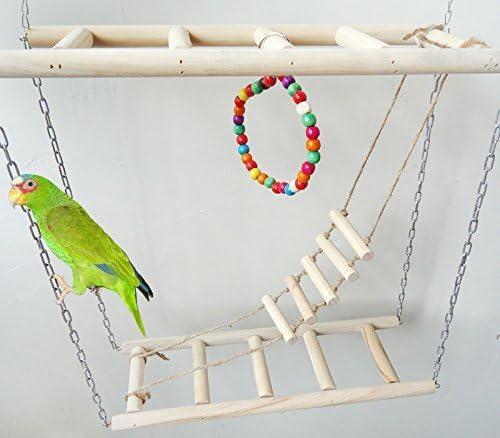 Hypeety Escalera de perca doble de madera de pájaro y perca de columpio, juguetes para pájaros, loro, macaw africano, gris, periquitos y cacatúas: Amazon.es: Productos para mascotas