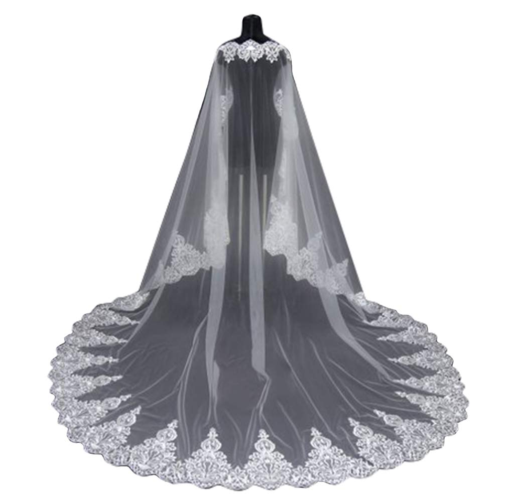 Newdeve Cathedral Length Bridal Cape Wedding Dress Cape Long Train Lace Edge Face Cover Cape (White, 5 Meters)