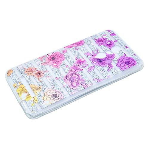 Ecoway TPU Funda Funda para Xiaomi Redmi note 4, Ultra Delgado Carcasa Antideslizante Suave Parachoques Resistente a los arañazos Contraportada Funda de silicona transparente transparente Parachoques  Flores de colores
