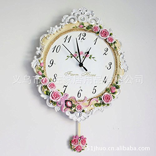 wall clock Limited Edition resin clock creative life of European pastoral resin wall clock pink romantic rose