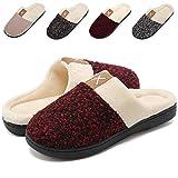 VIFUUR Women's Comfort Slippers Memory Foam Plush Lining Slip-on House Shoes Indoor Red-40/41