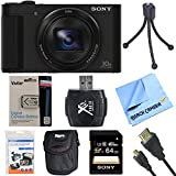 Sony Cyber-Shot DSC-HX90V/B DSC-HX90V DSC-HX90 DSCHX90B HX90 Digital Camera Black 64GB Bundle includes Screen protectors, carrying case, 64GB memory card, card reader, mini tripod, battery, HDMI cable and Beach Camera Cloth