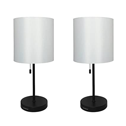 Haitral Metal Basic Table Lamp with Fabric Shade Modern Finish Bedroom Lamps for Gift(Black) - - Amazon.com