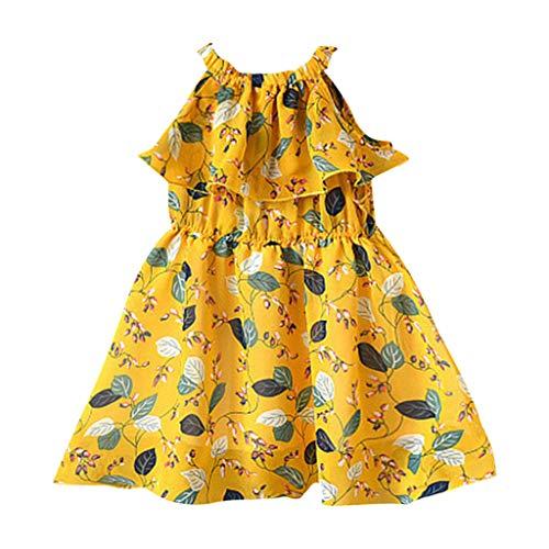 (Girls Sleeveless Ruffles Leaf Print Casual Swing Vest Dresses Yellow)