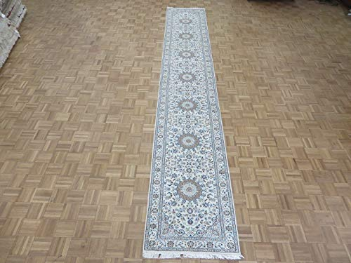 2'8 X 16'3 Runner Hand Knotted Ivory Persian Nain With for sale  Delivered anywhere in USA