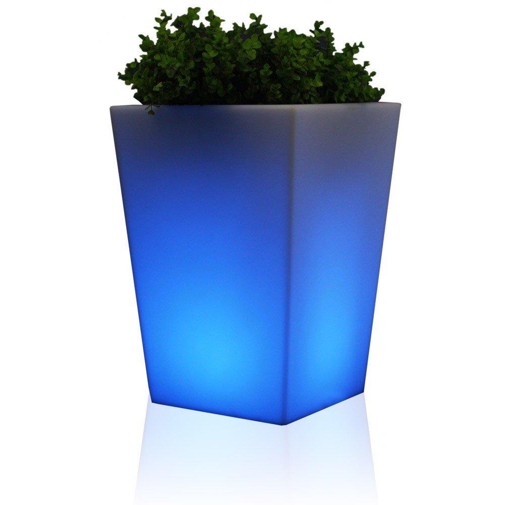 Pflanzkübel Blumenkübel CONO PLAZA LUZ 44 Kunststoff, 36x36x44 cm, Gartenleuchte, Blumentopf, Design Leuchte, LED RGB beleuchtet