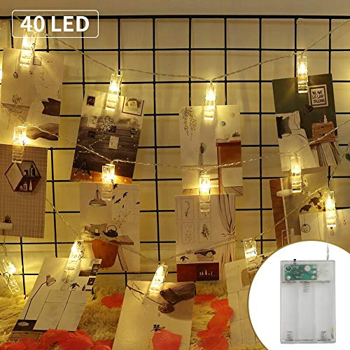 (MANLI 13 FT 40 Photo Clips String Lights Battery Operated Fairy String Lights with Clips for Hanging Pictures, Cards, Artwork, Xmas Party Wedding (Warm White))