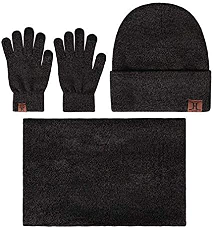 Z-YQL Winter Beanie Hat Scarf Touch Screen Gloves Winter Warm Knitted Set for Men