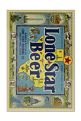 Lone Star Brand Beer Label - San Antonio, Texas (8x12 Acrylic Wall Art Gallery Quality) (Lone Star Beer Poster compare prices)
