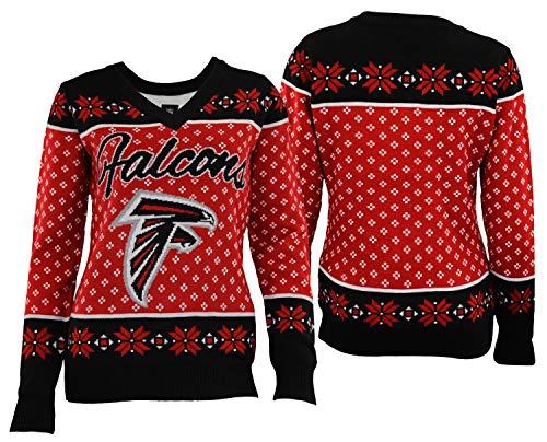 Forever Collectibles Atlanta Falcons 2016 Big Logo V-Neck Sweater - Womens Small ()