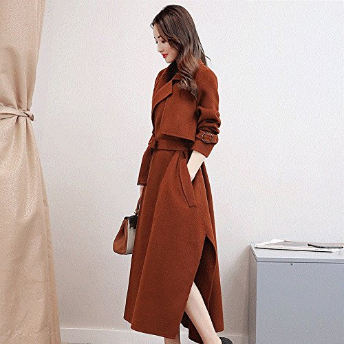 Women His Loose of Body Winter WYF Coat Long Fork Belt in the with Autumn the Open and Section Long Code Temperament Colour Coat Long Windbreaker Caramel fAqAZ87p