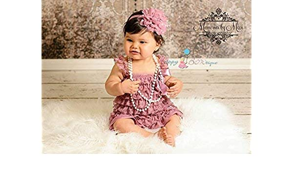 9d0c34487254 Amazon.com  2pcs Dusty Rose Petti Lace Romper Set