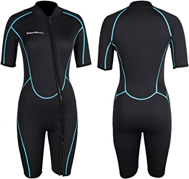 Mens 3mm Shorty Wetsuit Womens, Premium Neoprene Front Zip Short Sleeve Scuba Diving Wetsuit Snorkeling Surfing