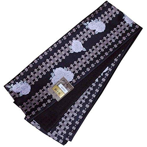 ローブピュー偽物日本製 桐生織 半幅帯 紹巴 小袋帯 リバーシブル 半巾帯 細帯 薔薇×千鳥格子