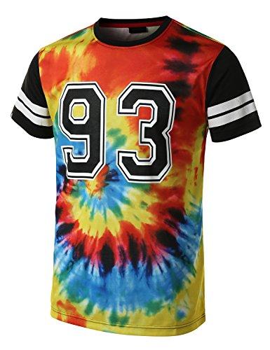 URBANCREWS Mens Hipster Hip Hop 93 Tie Dye Varsity Striped T-Shirt MULTI SMALL