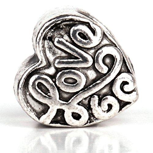 RUBYCA 30pcs Tibetan Silver Tone Spacer Beads Fit European Charms Bracelet HRUBYCA With Love Design ()