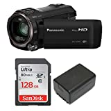 Panasonic HC-V770 HD Camcorder with SanDisk Ultra 128GB SD Card plus Spare VBT190 Replacement Battery