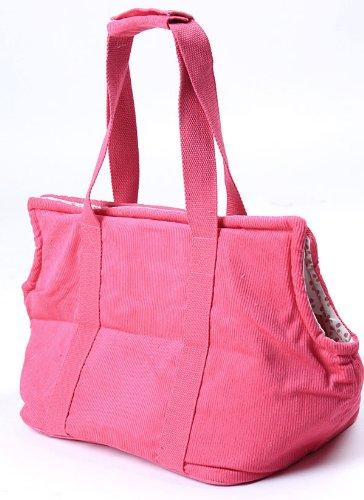 Lovabledog Pet CatDog Corduroy Portable Bag Handbag Backpack Purse Carrier for Travel Hiking Camping Pink