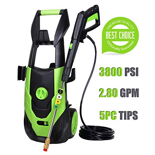 Fantech 3800 PSI 2.80 GPM Electric Pressure Washer, Electric Power Washer, 5 Quick-Connect Spray Tips, Power Wash Machine - Multi Purpose Power Tip