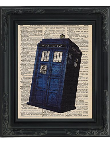 """Dictionary Art Print - Dr. Who Tardis British Blue Police BOX Booth - Printed on Recycled Vintage Dictionary Paper - 8.5""""x11"""" - Mixed Media Poster on Vintage Dictionary Page - Art measures approx 8"""" x 11"""". Printed on an authentic vintage dictionary page. Perfect for an 8 x10 frame or a standard 11 x 14 mat with an opening for an 8 x 10 print. - wall-art, living-room-decor, living-room - 51tjBxiJjHL -"""