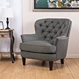 Oversized Armchair Great Deal Furniture Alfred | Tufted Fabric Club Chair | with Studded Accents | in Grey
