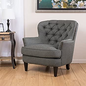 Alfred | Tufted Fabric Club Chair | With Studded Accents | In Grey