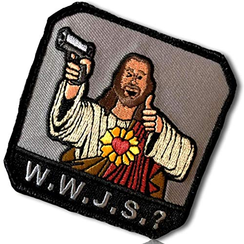 (W.W.J.S.? What Would Jesus Shoot Holding Handgun 9mm 45 Pistol Sacred Heart Robes Full Color Cool Thumbs Up Gesture Pose Hook & Loop Fastener Patch [3.5