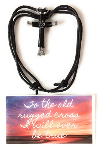 Necklace Gift Set - Cross Nail Necklace with card, Horseshoe Necklace Cross (Black)]()