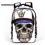 3D Skeleton Skull Cool School Backpack Travel Bag Leisure Bag Casual...