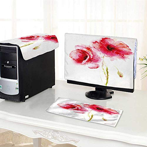 (Auraisehome Computer dustproof Three-Piece Red Spring Summer Time Garden Florals Field Poppy Artwork Hot Pink Light Pink for LED LCD Screens Flat Panel HD Display /30