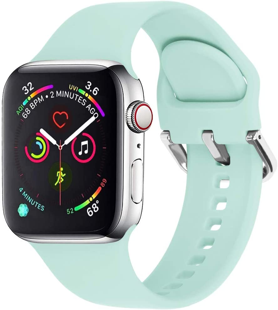 eCamframe Sport Watch Bands Compatible for Apple Watch Band 38MM 40MM 42MM 44MM, Soft Silicone Wristband Strap Compatible with iWatch SE, Apple Series/6/5/4/3/2/1 (Green, 38mm 40mm-S/M)