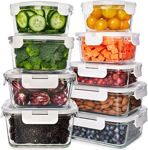 Glass Food Storage Containers with Lids – Glass Meal Prep Containers Glass Containers For Food Storage with Lids 9 Pcs…