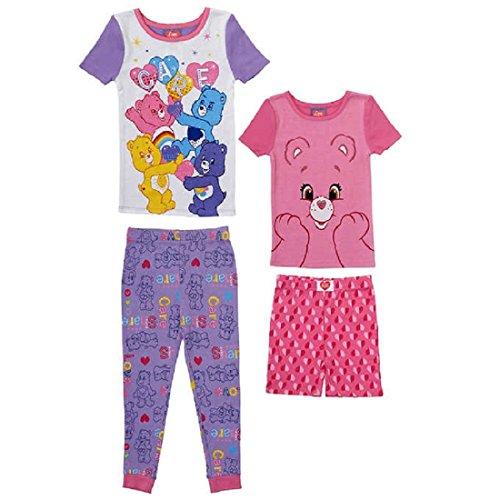 Care Bears 4-Piece Sleepwear Character Cotton Pajama Set Girls ()