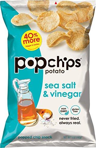 Popchips Potato Chips, Sea Salt & Vinegar Potato Chips, 12 Count (5 oz. Bags), Gluten Free, Low Fat, No Artificial Flavoring