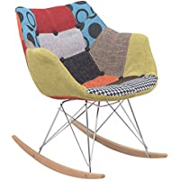 LeisureMod Willow Patchwork Fabric Eiffel Rocking Chair, Multicolor