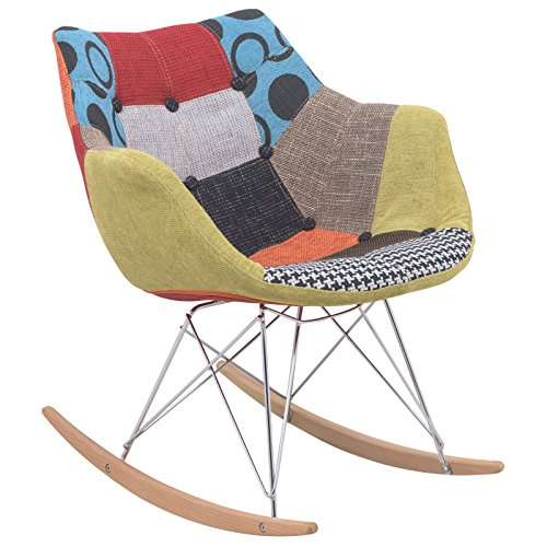 LeisureMod Eiffel Base Multicolored Fabric Modern Petite Rocking Chair by LeisureMod