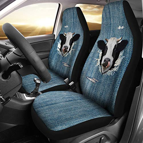 barn smile 3D Cow Fake Jean-2 car seat Covers Designed for Quick and Easy Installation on Most car and SUV Bucket Style Seats - no Tools Required.