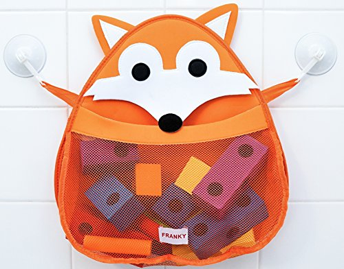 FRANKY the Fox - Bath Toy Organizer - Holder Storage mesh - Quick drying materials (Franky The Fox) Woodland Theme - Shower Caddy - Mesh Bag - Bath Toys by Monkey Stix